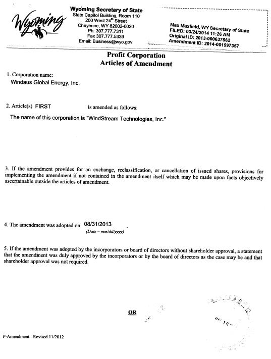 Form 10-K Windstream Technologies, For: Dec 31