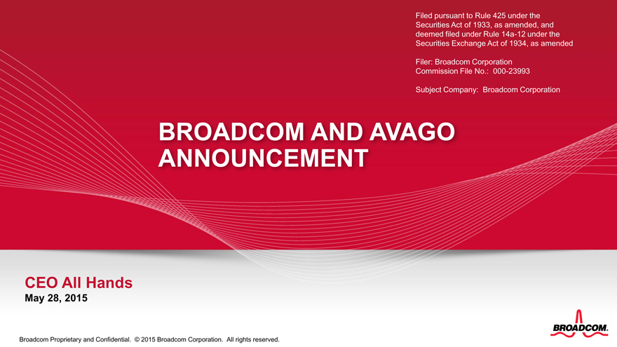 Form 8-K BROADCOM CORP For: May 28