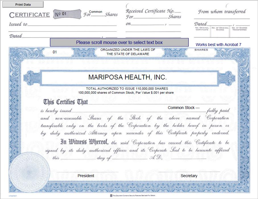 Form 8 k mariposa health inc for jun 19 sciox Images