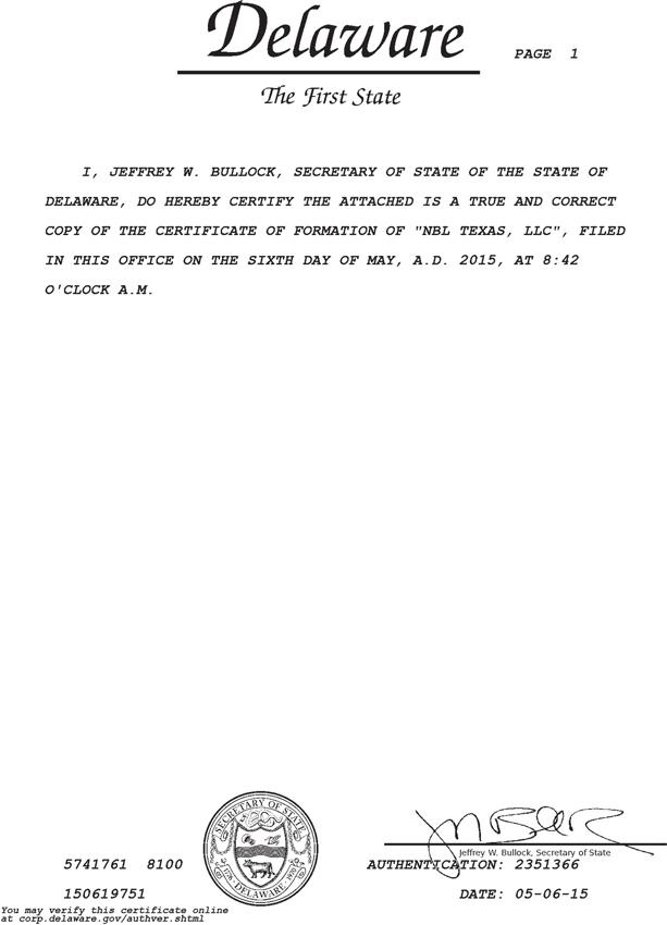 Form 8-K NBL Texas, LLC For: Jul 20