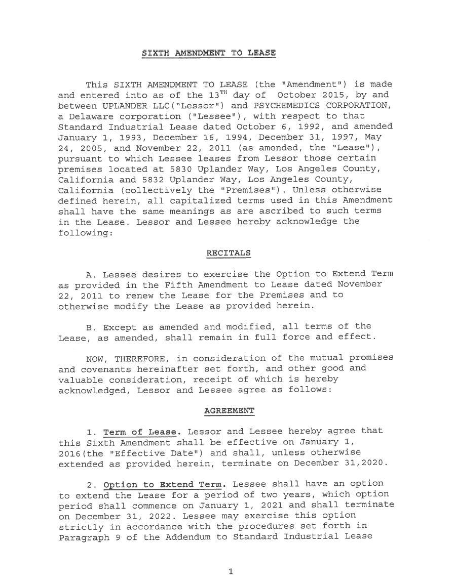 Form 10-K PSYCHEMEDICS CORP For: Dec 31