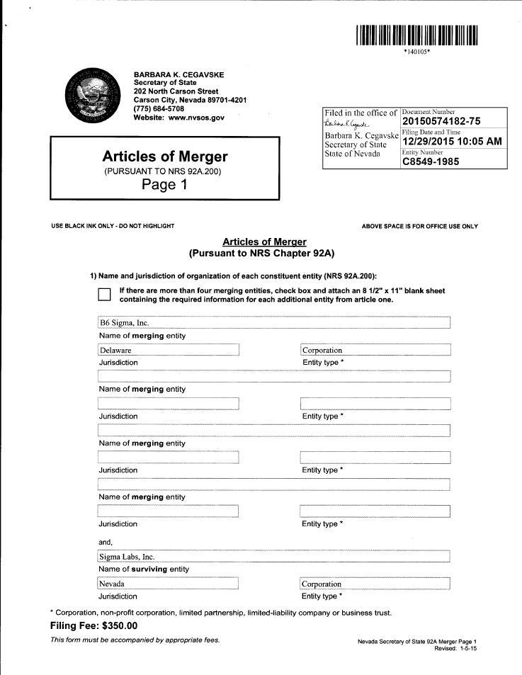 Form 10-K SIGMA LABS, INC  For: Dec 31